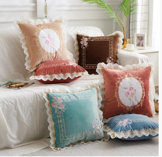 Romantic Lace Cushion Cover Floral Pattern Pillowcase Sofa