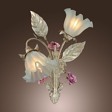 Country Style Floral Shape LED Wall Lamps Wall Sconce Lights With Glass  Flower Design Lampshade For