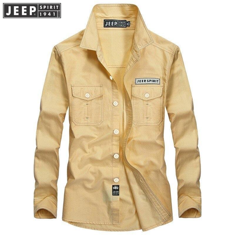 JEEP SPIRIT 2018 automne printemps homme robe 100% chemises en coton décontractées couleur bonbon chemise hommes militaire à manches longues de haute qualité chemise