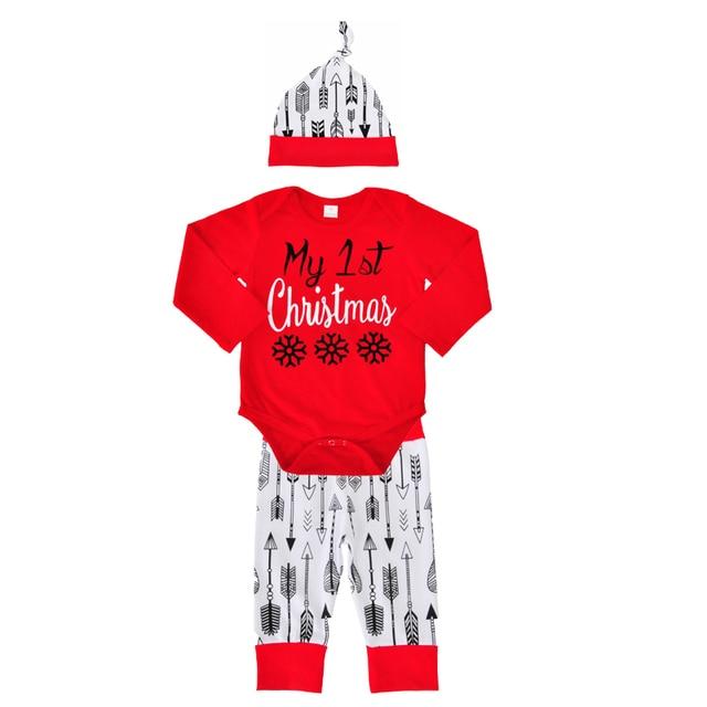 Baby Boy Clothing Set Autumn 2017 My 1st Christmas Romper Arrow
