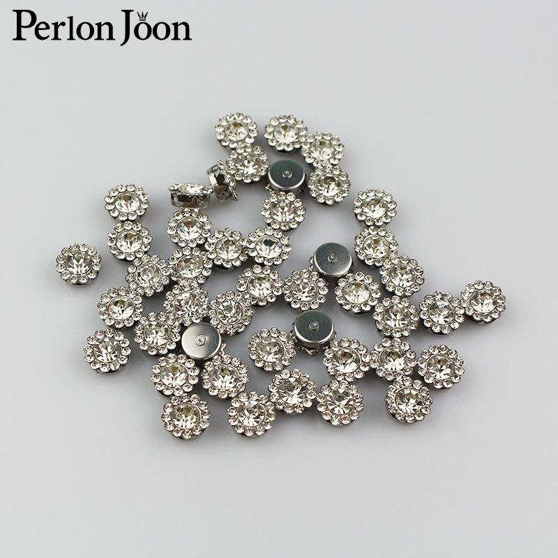 100 шт. 10 мм горный хрусталь Швейные флатландии кнопки кристалл декоративные пуговицы для одежды, сумки, обувь аксессуары B005