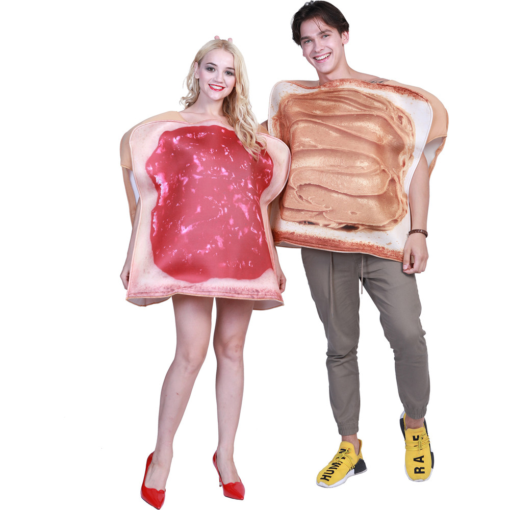 Sandwich Couples Costume Peanut Butter and Jam Toast Food Funny Fancy Dress Adult 2 Pieces Set Carnival Halloween Party Costume