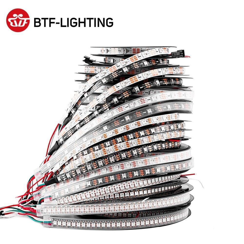 1 m/2 m/4 m/5 m WS2812B Ha Condotto La Striscia 30/60/74/ 96/100/144 pixel/led/m WS2812 Intelligente RGB Ha Condotto La Striscia di Luce Nero/Bianco PCB IP30/65/67 DC5V