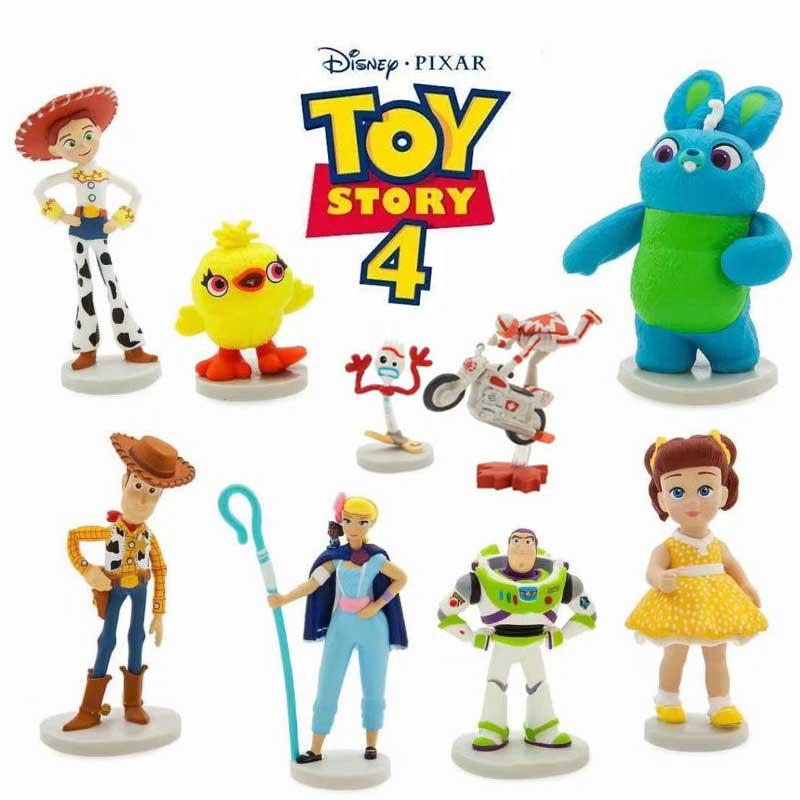 9pcs Set Disney Pixar Movie Toy Story 4 Cartoon Toy Woody Buzz