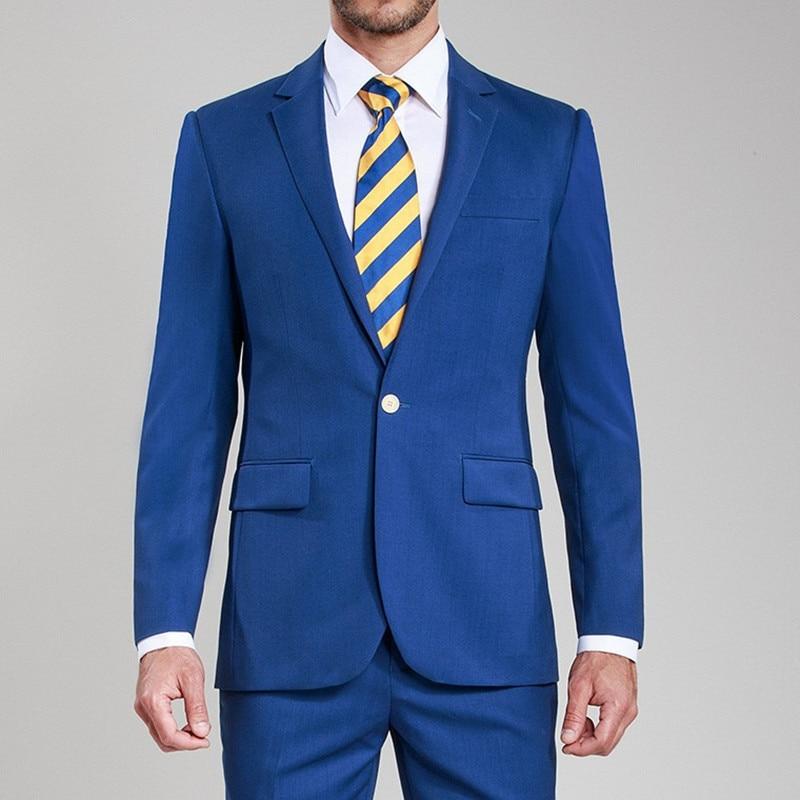 Bleu Costumes Mariés satin Costume Revers Pour Mariage veste Custom Made Royal Fit Picture Hommes Les Shown Cran color Color Slim As Chart Smokings Pantalon De 1z1FYq