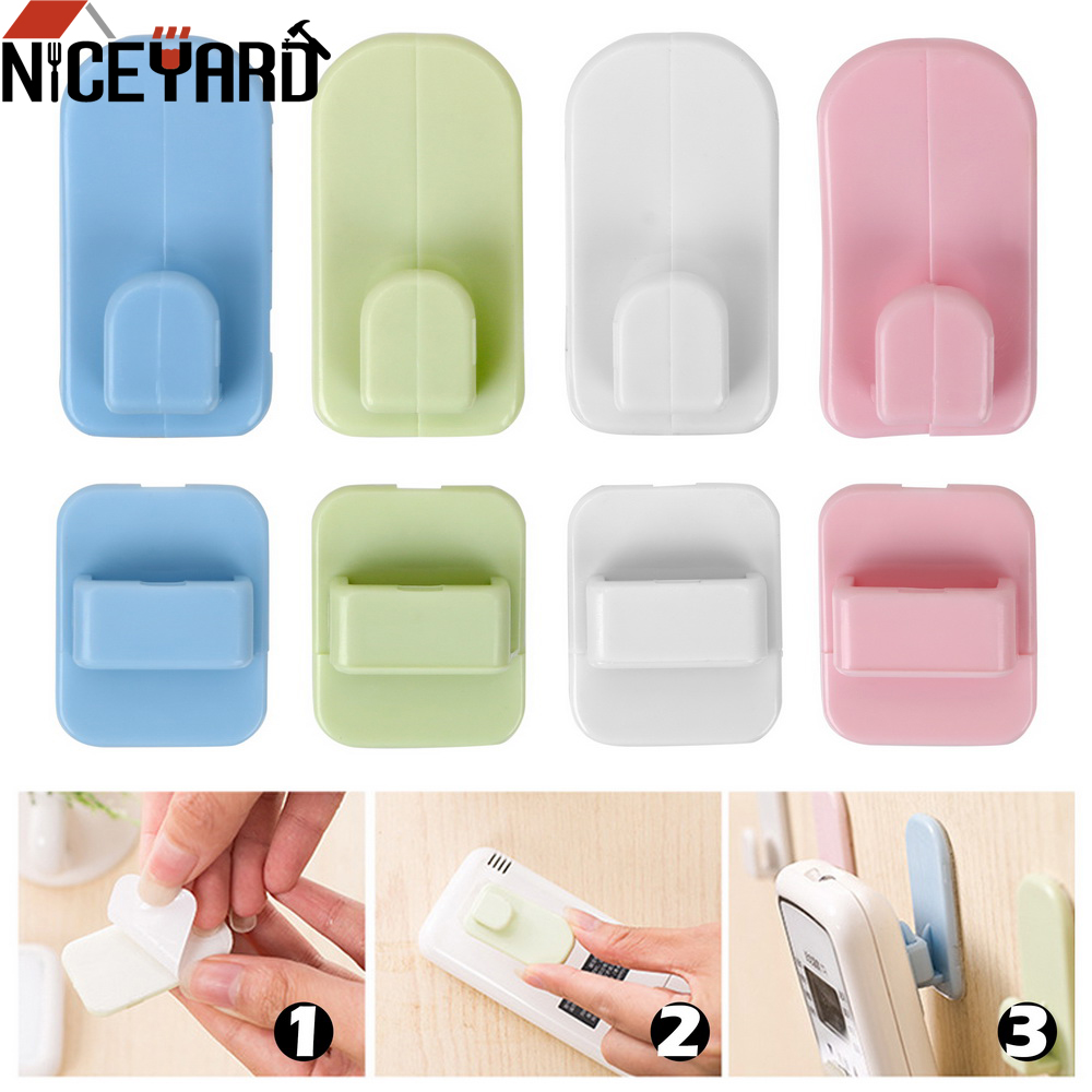 4pcs/set Remote Control Holder Adhesive Tape Hanger Wall Storage Sticky Hook Set Organization For TV Air Conditioner Controller