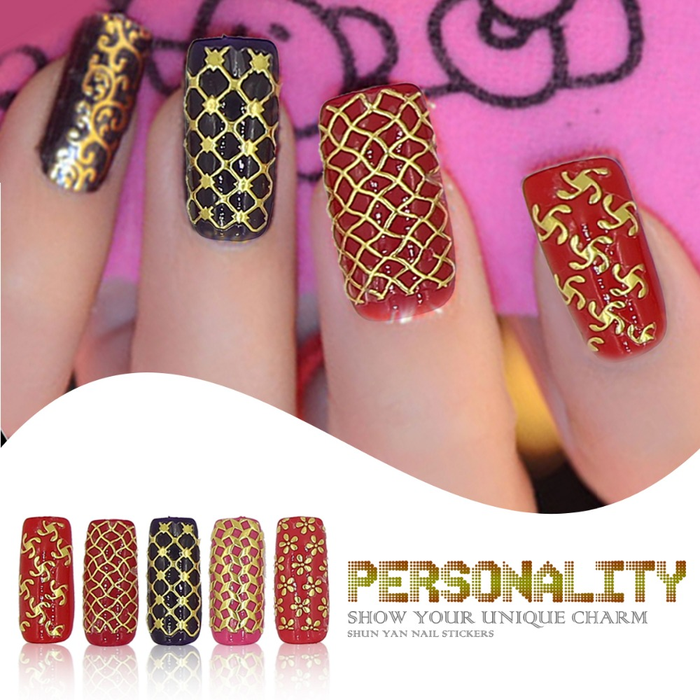 3D Design Fashion Nail Art Gold Metallic Stickers Decals Manicure ...