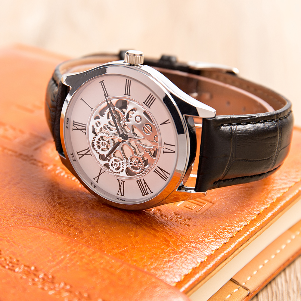 Watches Men Japanese Movement Leather Strap Birthday Gift Watch