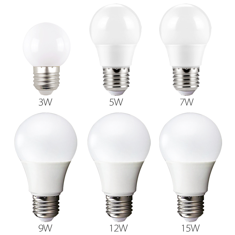 LED Bulb Lamps E27 220V-240V Light Bulb Smart IC Real Power 3W 5W 7W 9W 12W 15W High Brightness Lampada LED Bombillas