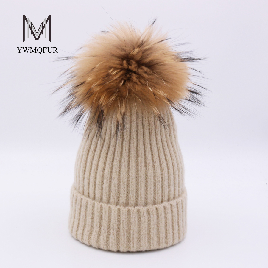 YWMQFUR Winter Warm Pom Poms Real Raccoon Fur Beanies Hats For Women Thick Knitted Wool Caps Natural Solid Pompom Ball Bonnet wholesale two fur ball pompon solid beanie hats pom poms hats winter warm skullies