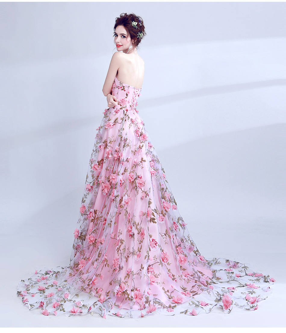 Walk Beside You Pink Flowers Prom Dresses 2017 Long Strapless