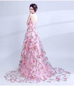 Image 2 - Walk рядом с вами розовые платья для выпускного вечера с цветами 2020 Длинные без бретелек возлюбленной платье de formatura longo вечерние платья Хэллоуин