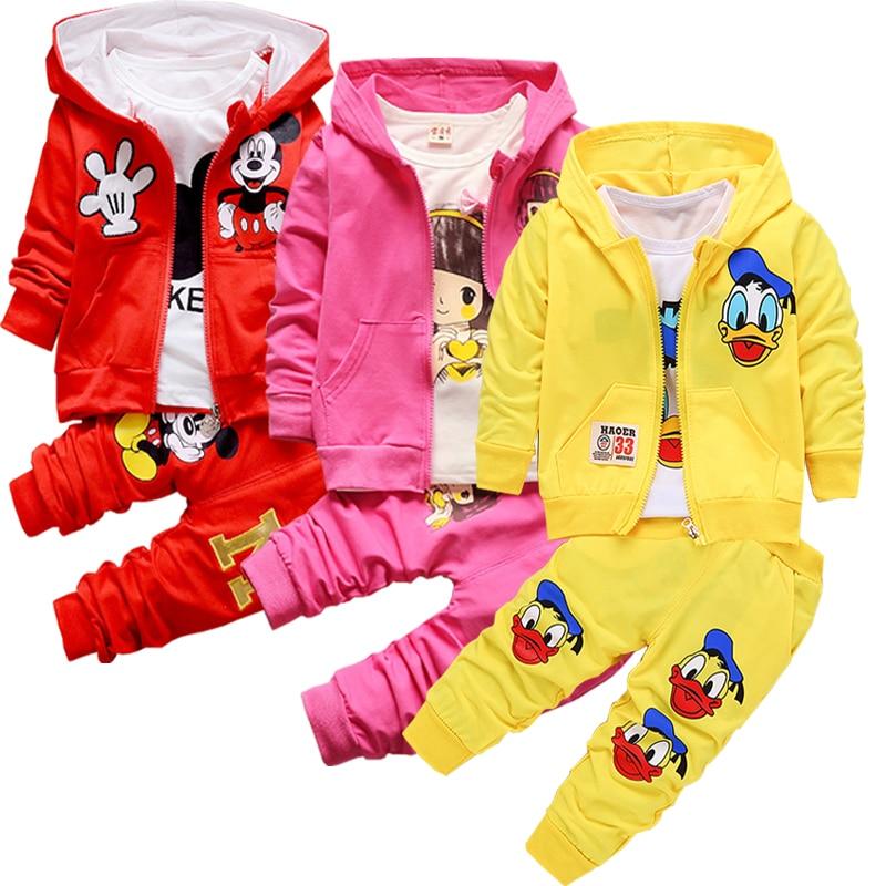 Primavera outono do bebê meninas meninos conjuntos de roupas infantis casaco algodão + t camisa calças 3 pçs bebes menino conjunto roupas crianças