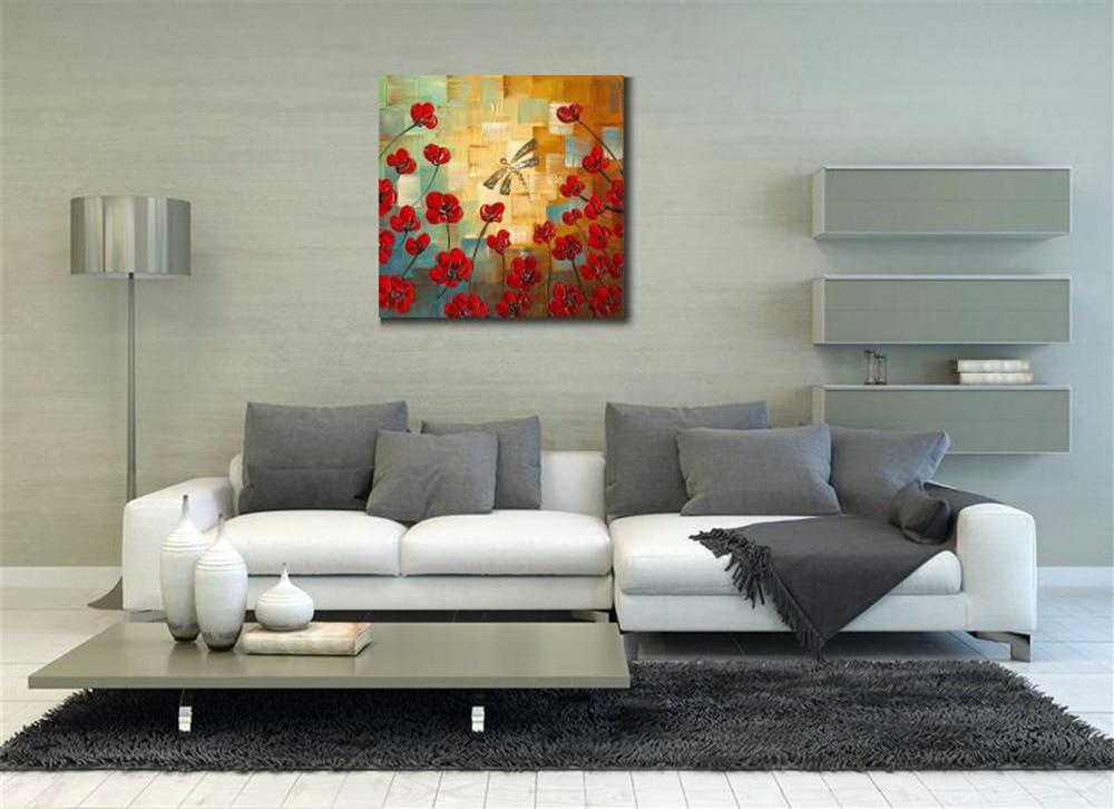 Håndmalte knivblomster Oljemalerier Abstrakt Dragonfly-maleri på - Hjemmedekorasjon - Bilde 2