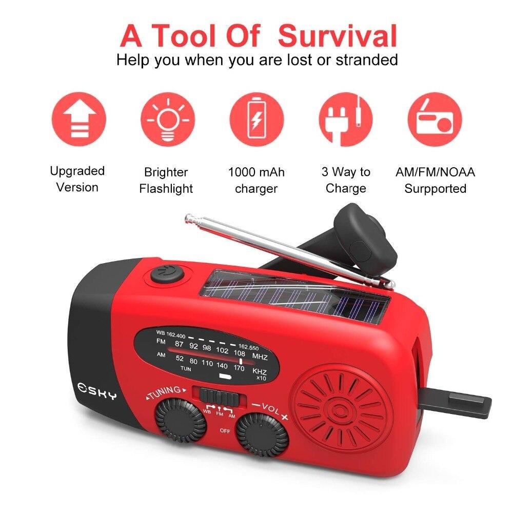 Solar Hand Crank Dynamo Emergency AM//FM//WB Radio Compass LED Flashlight Charging