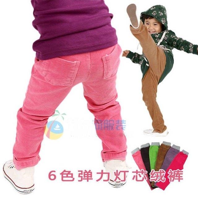 Cotton stretch corduroy pants children boys and girls straight pants, hot pants good quality eight design,Freeshipping