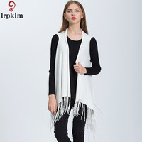 Women's Autumn Vest Europe & America Knit Cardigan Solid Color Fringed Cape Cardigan Sleeveless Jacket Women's Vest LZ836