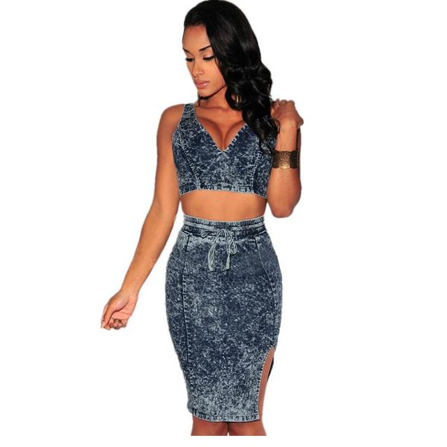 206be631c3e Crop Top And Skirt Set 2016 Women Sexy Bodycon 2 Piece Sets Ladies Tie Dye  Denim