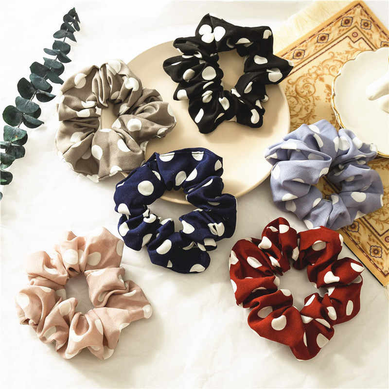 Polka Dot Printing Chiffon Scrunchies Stretch Ponytail Holders Hair Ties Printing