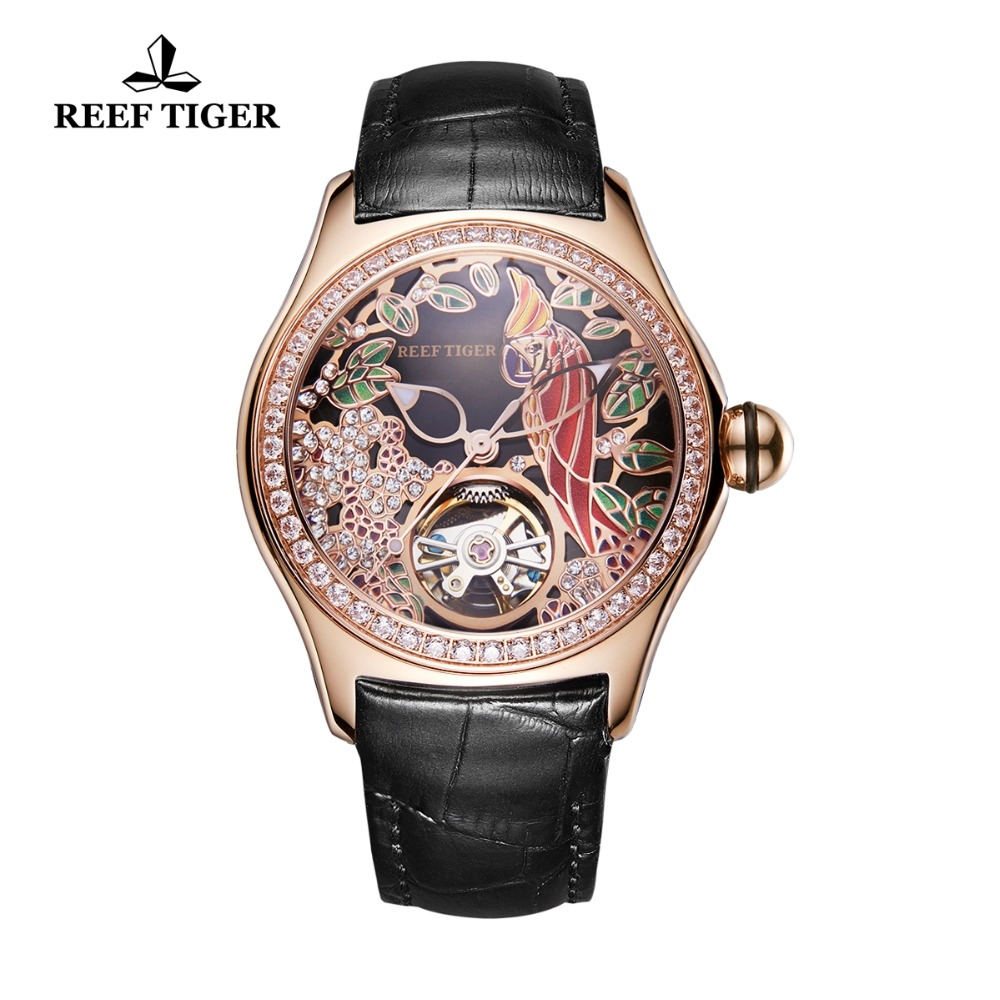 Reef Tiger/RT Top Brand Luxury Women Watches Diamonds Automatic Watch Genuine Leather Strap Rose Gold Fashion Watch RGA7105 все цены