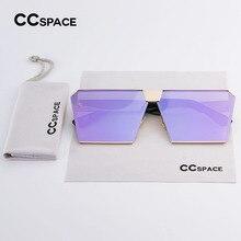 CCSPACE Único de Gran Tamaño Escudo de Mujer de Marca Diseñador gafas de Sol  de Espejo Cuadrado Noble Púrpura Lente Eyewear Del . 8f17474b8027