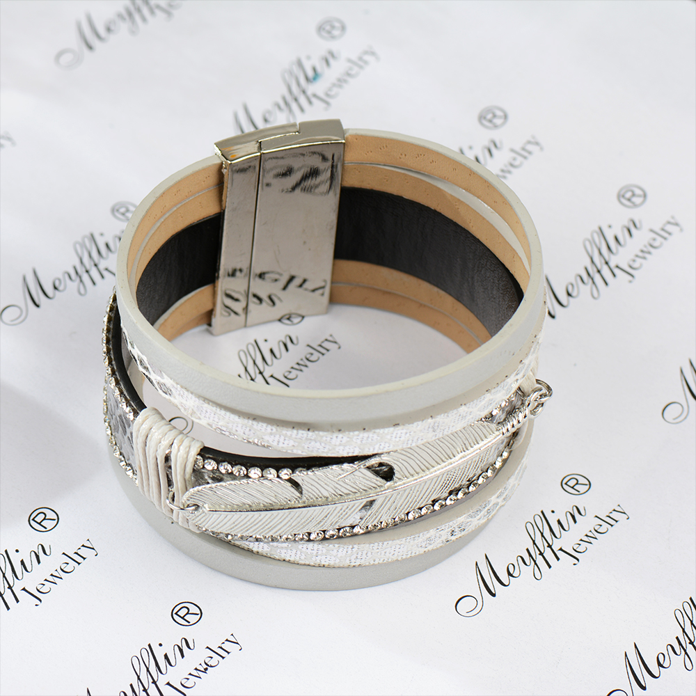 17 Fashion Alloy Feather Leaf Wide Magnetic Leather Bracelets & Bangles Multilayer Wrap Bracelets for Women Men Jewelry 11