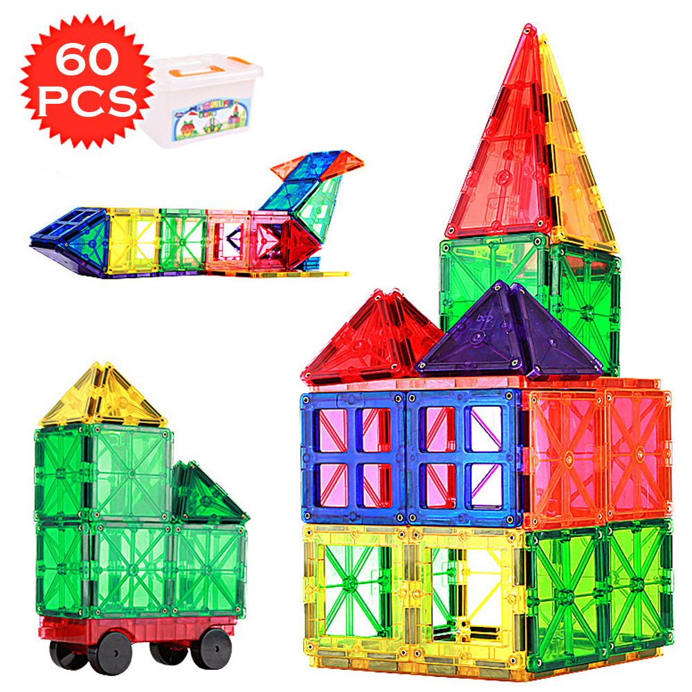 60PCS Big Size Magnetic Construction Set Model Building Transparent Magnetic Blocks Educational Toys for Children Kids