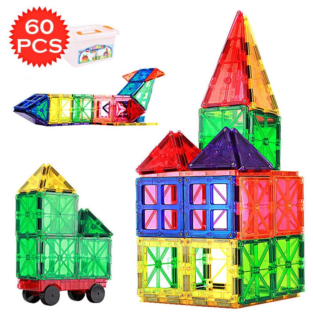 60 قطعة كبيرة حجم المغناطيسي البناء مجموعة نموذج و بناء شفافة كتل مغناطيسية التعليمية لعب للأطفال أطفال هدية-في مغناطيسي من الألعاب والهوايات على  مجموعة 1
