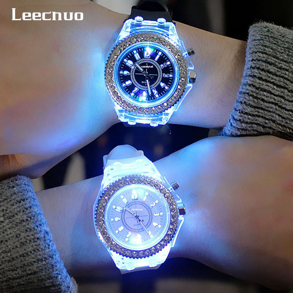 Leecnuo Couple Watches Light-Wristwatch Trends Personality Lovers Flash LED 7-Color Jellies