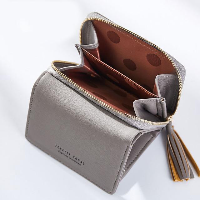 WEICHEN Tassel Pendant Women Wallets With Zipper Coin Pocket Card Holder Brand Ladies Purses Female Wallet Small Carteira Brand