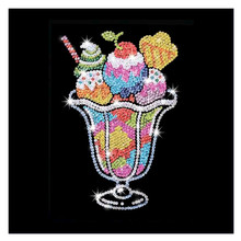 CaiLong1990 New 5d DIY Diamond Cross Stitch Ice Cream Cartoon Embroidered Mosaic Painting Rhinestone Decoration