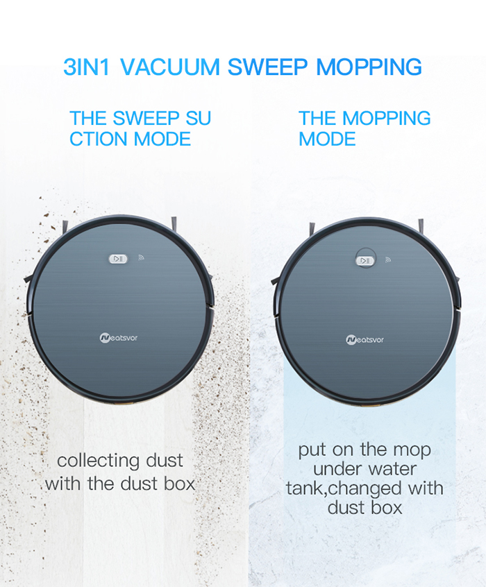 NEATSVOR X500 1800PA Robot Vacuum Cleaner for Wet or Dry Mopping with Map Navigation and Anti Collision Feature 7