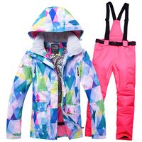 2019 New Waterproof Ski Suit Women Ski Jacket Pants Female Winter Outdoor Skiing Snow Snowboard Jacket Pants Snowboard Sets