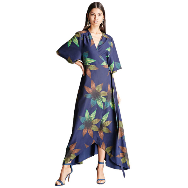 a1ca4ee346 Dark blue half sleeve floral print high waist long wrap kimono dress for  women ladies elegant high low asymmetric maxi dresses