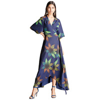 Half Sleeve Floral Print Kimono Dress For Women High Waisted Wrap Long Dress Ladies Summer Elegant
