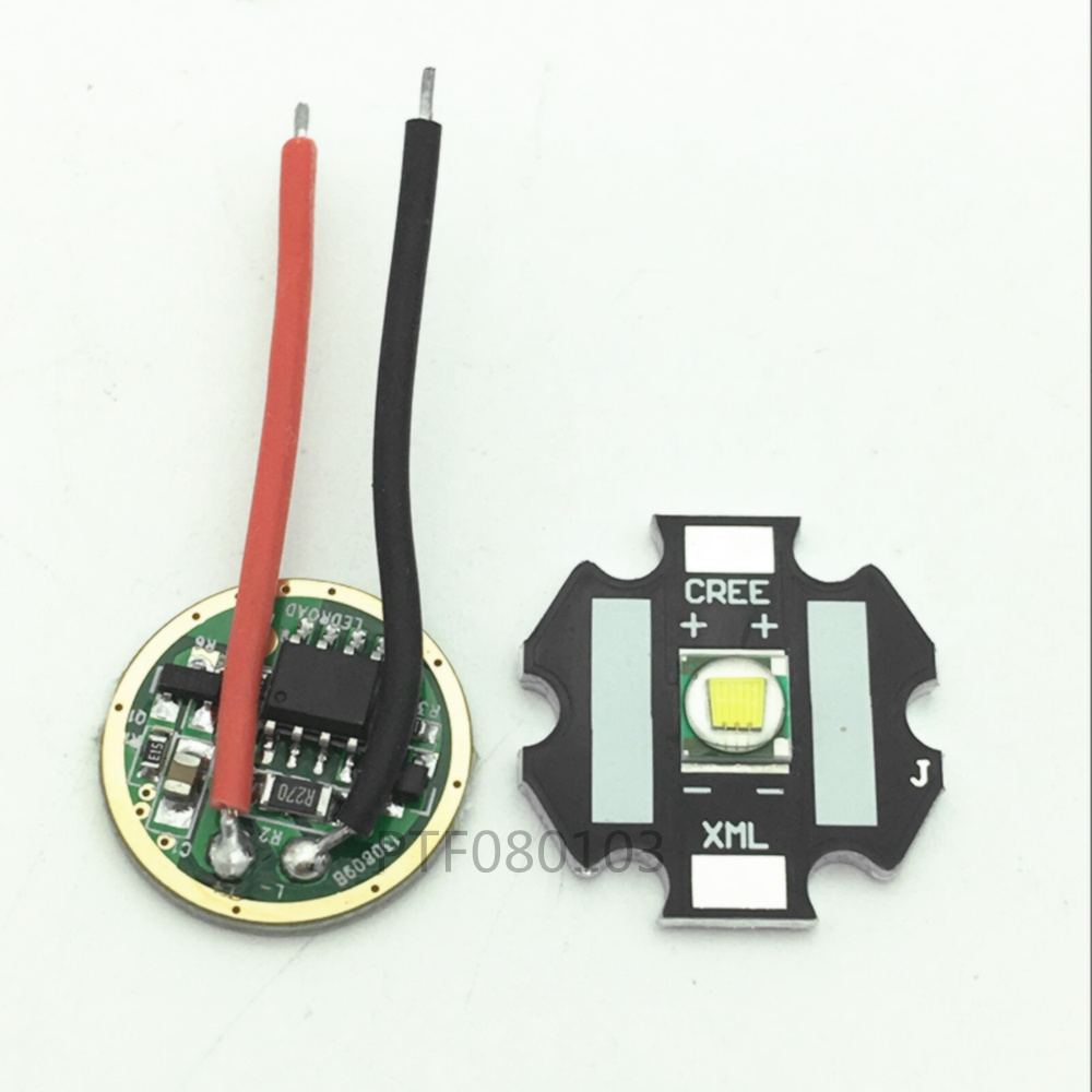 2pcs Cree XM-L T6 10W Cool White 6500k LED Light + T6 L2 DC 3.7V 2.5A XML LED Dimmer Driver For DIY