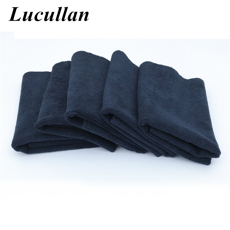Lucullan 40X40CM 380GSM Black Monster Edgeless Microfiber Towel For Soft Paints Wax And Polishing Removal