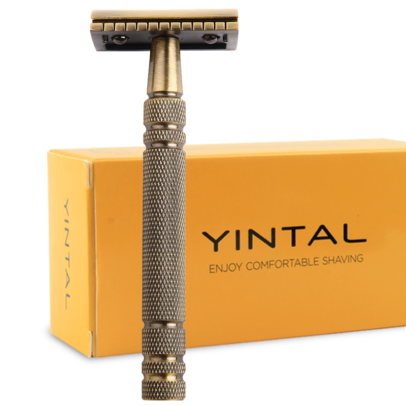 Razors for Shaving Men Double Edge Razor Brass Bronze Style Blade Replaceable Classic Safety Razor razors for shaving men double edge razor bright brass blade replaceable chrome manual classic safety razor