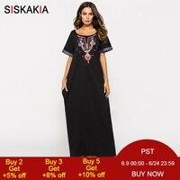 Siskakia Women long Dress Black ethnic Embroidery patchwork maxi dresses Summer 2018 urban casual T shirt dress muslim clothing