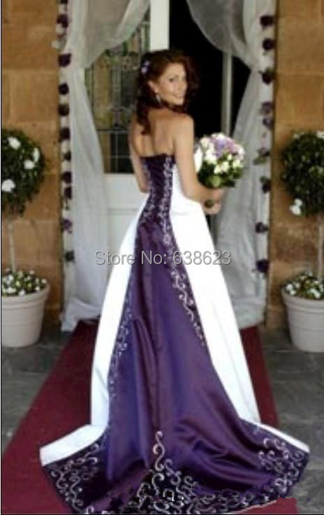 Daw2505 hot new strapless satin embroidery aline corset for Wedding dress with purple embroidery