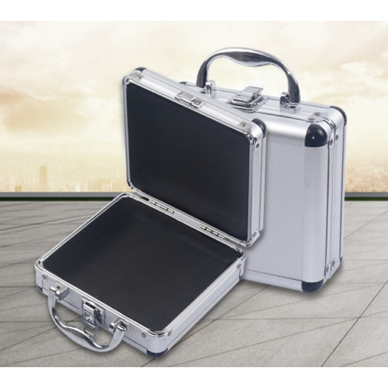 Portable Small Suitcase Storage Case Aluminum Alloy Tool Box With Sponge Lining Impact Resistant Safety Case 170x160x70MM