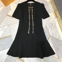 Элегантный Платье черного цвета осень o образным вырезом женские вечерние короткий рукав платье трапециевидной формы Для женщин 2018 Новый Д