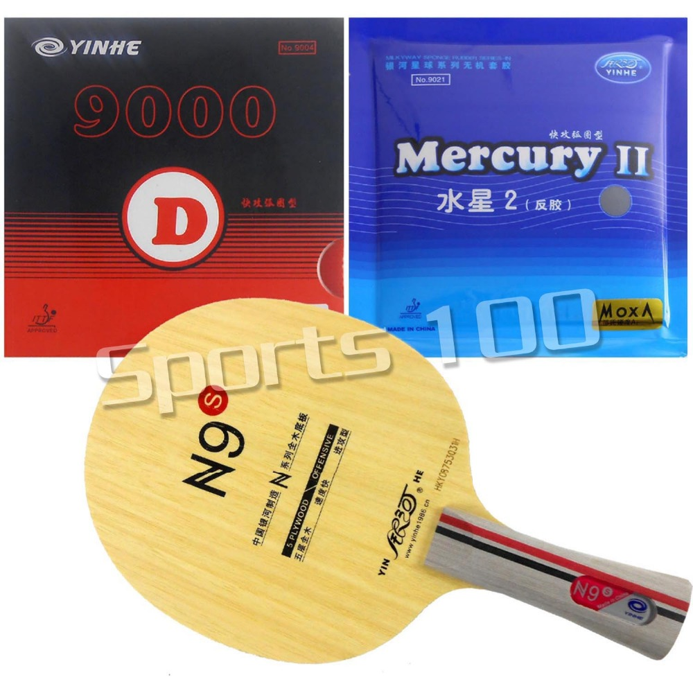 Pro Combo Racket Galaxy YINHE N9s Blade Long Shakehand-FL With Galaxy YINHE 9000D Mercury II Rubbers galaxy yinhe emery paper racket ep 150 sandpaper table tennis paddle long shakehand st