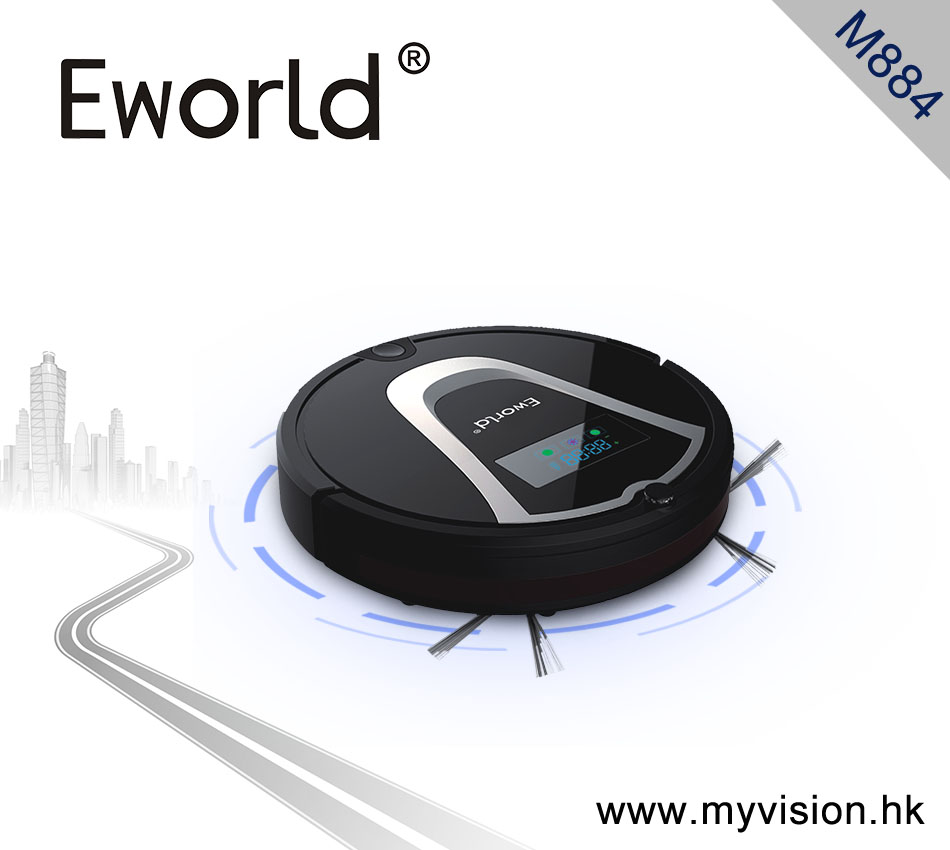 Eworld M884 2016 New Design Dry Wet Robot Vacuum Cleaner For Home Clean Mop Self Charge M884 Black Robot Cleaner Sweeper eworld intelligent robot vacuum cleaner m884 with vacuum cleaner parts mini automatic robot vacuum cleaner for home