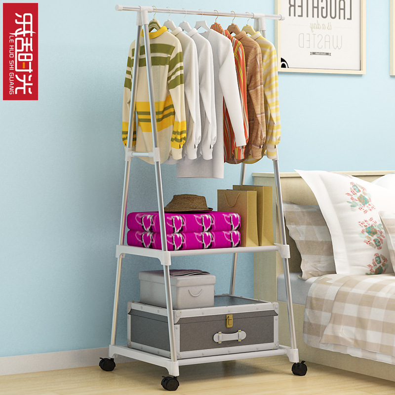 Simple Triangle Coat Rack can be moved Metal Assembled Wardrobe Furniture Multi functional Creative Clothing Rack