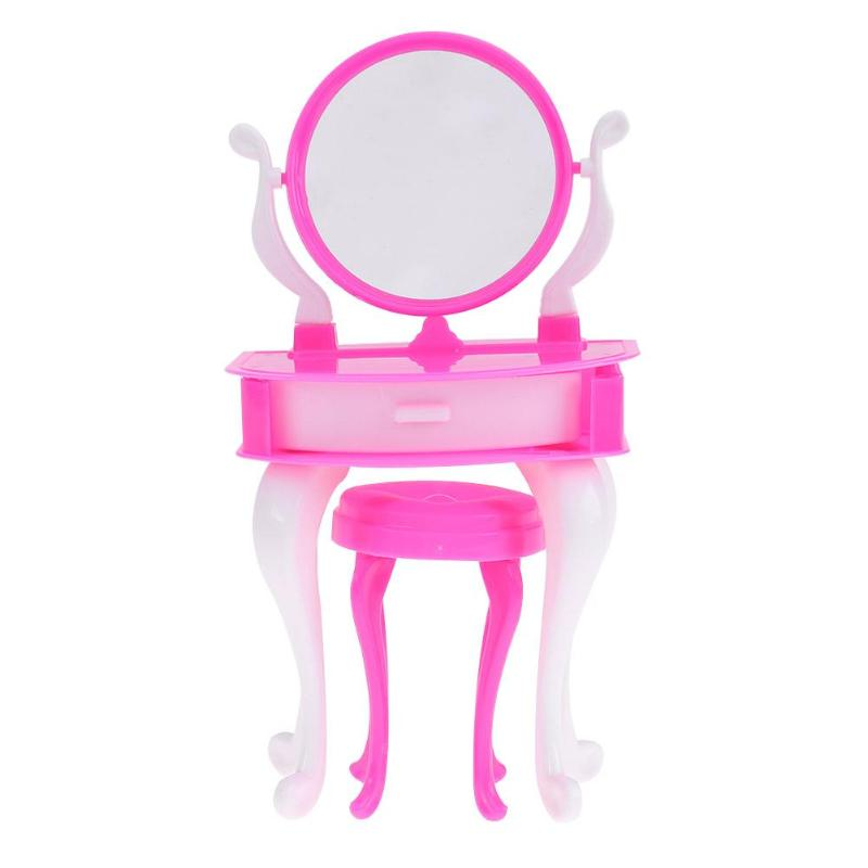 Dollhouse Furniture Miniature Dresser Chair Set Girls Cosmetics Toy Children Play House Bedroom Toy for Barbie Doll Accessories new arrival christmas gift play house for children bathroom set furniture for barbie doll