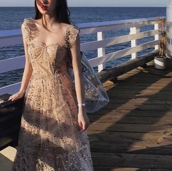 6ec411418 2019 Брендовое Новое Женское модное платье Красочные Блестки Сетчатое  сказочное платье с оборками, платье миди с открытой спиной Vestidos De  Fiesta
