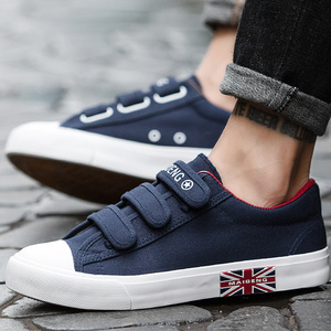 Image 2 - Mens Sneakers Canvas shoes for Boys Breathable Hook & loop Solid Brand Hard wearing Fashion Black/Blue/White Shoes Man