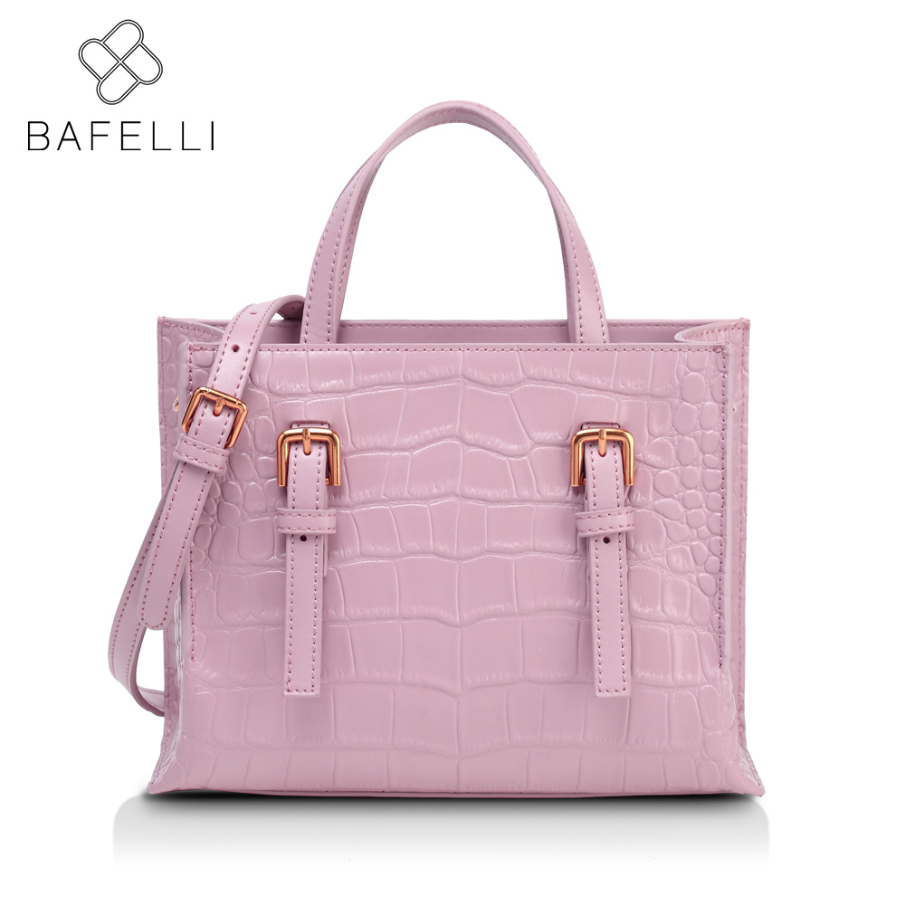BAFELLI 2017 spring with the new trunk shoulder handbag split leather crossbody bag pink gray bolsa mujer women messenger bag