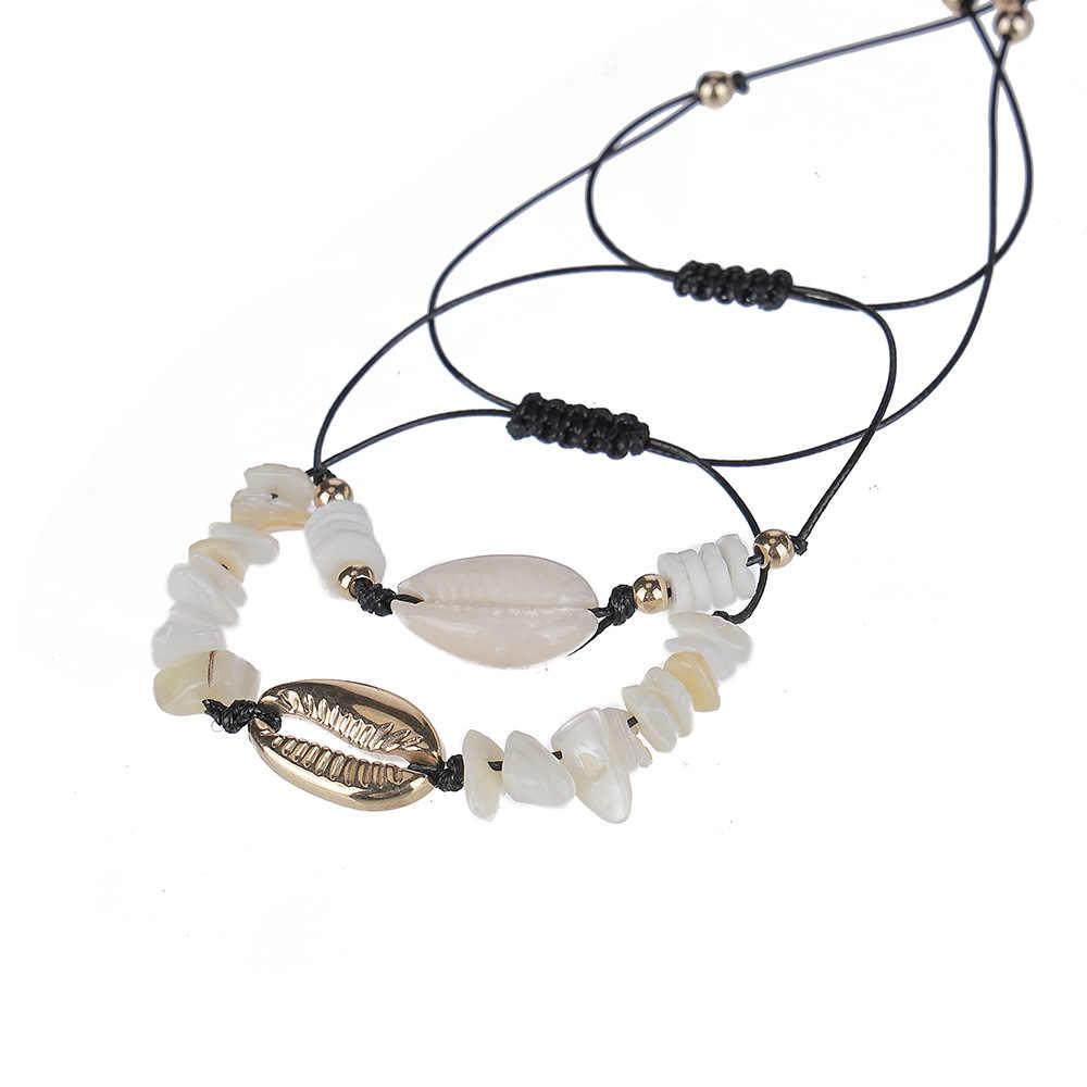 KMVEXO Gold Color Cowrie Shell Bracelets for Women Black Rope Chain Bracelet Beads Charm Bracelet Set Bohemian Beach Jewelry